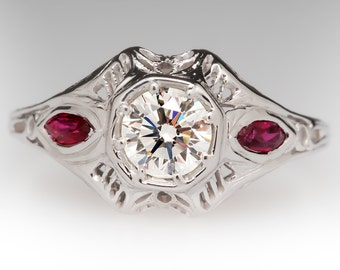 Vintage Engagement Ring - .56 Carat Diamond With Marquise Ruby Accents - 18K White Gold Filigree Wedding Ring - WM10973