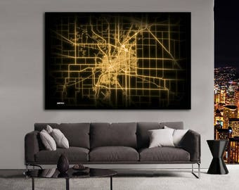 JANESVILLE Wisconsin Night Lights Map Large Horizontal Wall Art Map Janesville WI Modern Art Neon City Street Map of Janesville NLM