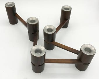 Danish Modern Articulated Rosewood and Aluminum Expandable Candle Holder for 6 Candles