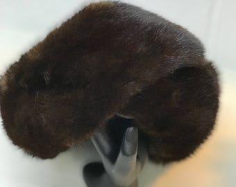 Mink fur vintage women's hat