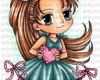 Digital Stamp - Lovely Lila (#285), Digi Stamp, Coloring page, Printable Line art for Card and Craft Supply