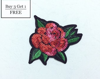 Rose Patch Sequin Patch, Iron on Patch, Sew On Patch, Embroidered Patch