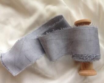 Light Cole.  Plant dyed silk, hand dyed silk ribbon, pale grey silk ribbon,