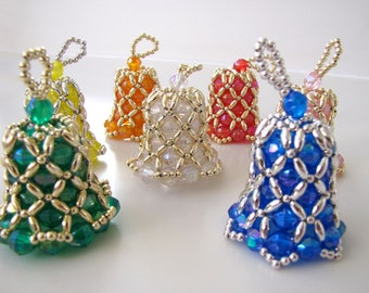 Special Order: Beaded Bell Ornaments in Aurora Borealis