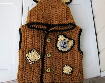 "Knitted vest, children vest, waistcoat with hood ""Bear"", Knitting for children, brown jacket, vest crochet, Happy gift, ready to send."