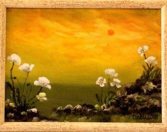 White poppies-Sunset-Sea-Original painting-Handmade by Silvia Dimova