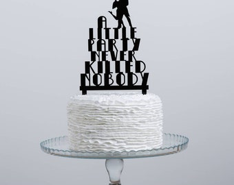 The Great Gatsby Cake Topper - Themed Party Set - 1920 Style Table Decorations - Great Gatsby Themed Party - 20's Themed Cake Decor