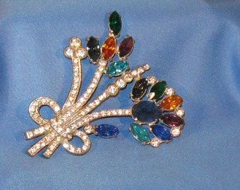 Rhinestone Multi Color Large Brooch - Great Details