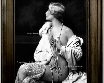 Follies Flapper Art Print 8 x 10 - Risque with Pearls Art Deco - Jazz Age - Burlesque - Dancer - 1920s - Roaring 20s Great Gatsby