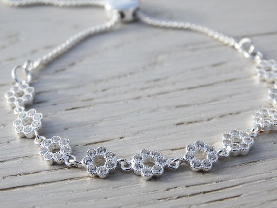 Sterling Silver & Cubic Zirconia Flower Slider Bracelet