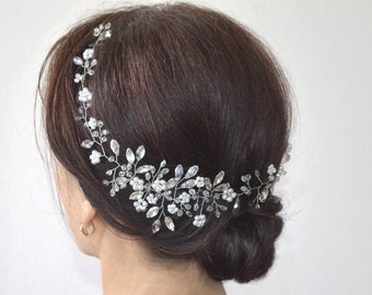 Bridal hair vine Pearl bridal headpiece Bridal floral boho wedding hair piece Long wedding hair vine Boho wreath Bridal halo Veil Accessory