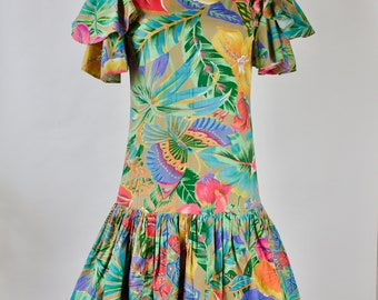 1980s Tropical Print Cotton Woven Party Dress / Tropical Print Dress / Ruffle Dress