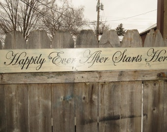 Hand Painted Rustic Wedding wood Happily Ever After Starts Here  Shabby Distressed custom colors Love