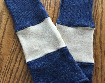 Wool Arm warmers, Upcycled fingerless gloves, texting gloves made from 2 wool sweaters - navy and light brown