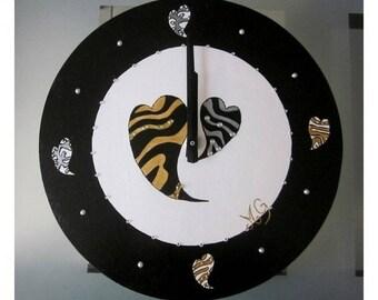 Black and white hearts and rhinestone wood clock