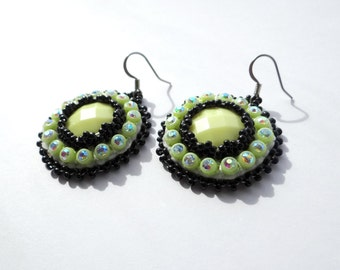 Neon Yellow Beaded Earrings