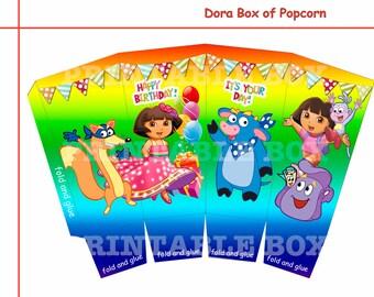 Dora box of popcorn Party decoration,  Printable box, Dora  party supplies, Adventurer the Explorer , digital download, party favor