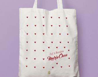 Bachelorette party double sided hearts, a tote bag personalized with his band #girlband bachelorette party full of love, gift bag for the bride