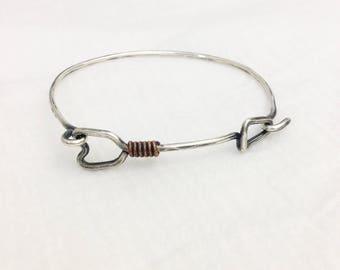 Arrow Bracelet, .925 Oxidized Silver, Copper Accent, Hook Clasp
