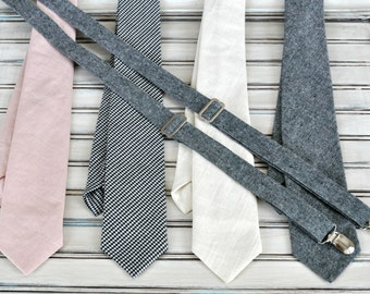 Linen Tie or Tie and Suspender Set, Father's Day Gift