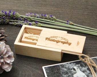 Engraved Maple Wood Box & USB Flash Drive Set- Personalized USB Thumb Drive - Custom Photography Wedding USB Drive