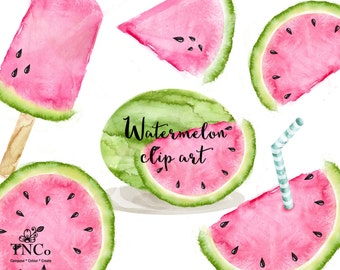 watermelon clipart, watercolour watermelon illustration, watercolour food illustration, printable watermelon, craft supply. Fruit paper