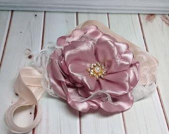 Pink Rosette Flower Headband, Girl Headband, Baby Headband