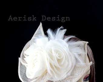 Ivory Hand pressed silk Rose Sinamy fascinator (Vintage hats) Kentucky Derby,New Orleans french square,hat box,1930s vintage fashion