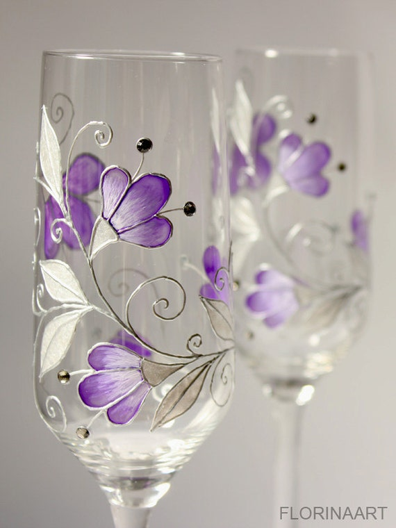 Purple Wedding Glasses Purple Wine Glasses Purple Champagne