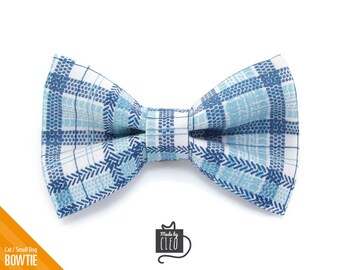 """Cat Bow Tie - """"Skybound"""" - Plaid Blue Cat Collar Bow Tie / Kitten Bow Tie / Small Dog Bow Tie - Removable (One Size)"""