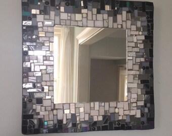 Mosaic Mirror, Black and White