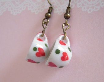 Tea Cup Earrings, Red Heart Polka Dot Miniature Tea Cup Tea Party Jewelry