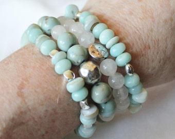 Amazonite Beaded Stretchable Bracelets Set of Four