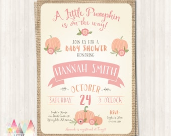 Little Pumpkin Baby Shower Invitation - Fall Baby Shower - Pink Pumpkin Baby Shower - DIY Printable OR Printed Invitation