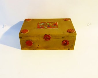 Vintage  Enameled Brass Box Jewelry Box Ornate Asian Enameled Brass Box Memento Brass Box Brass Jewelry Casket Inlaid Enalmeled Box