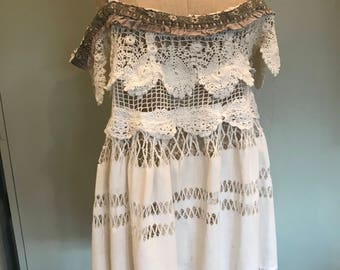 70s crochet mini dress