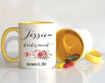 Bridesmaid mug, Bridesmaid gift, Bridal Party gift, Gift for Bridesmaid, gift for bridesmaid from bride, Floral Bridesmaid Gift, Wedding