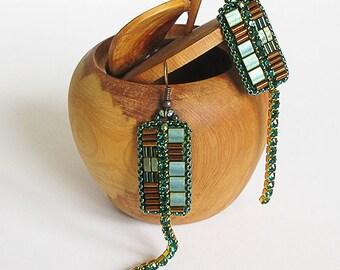 Long beadwork green copper earrings artisan jewelry industrial contemporary earrings embroidery beading bronze jewelry irish modern earring