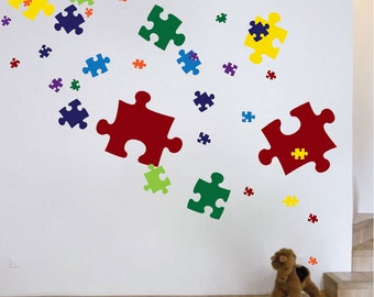 Puzzle Piece Wall Decals Puzzle Piece Wall Mural Puzzle Piece Wall Art Sticker Puzzle Piece Wall Decor Peel and Stick Puzzle Pieces, d06