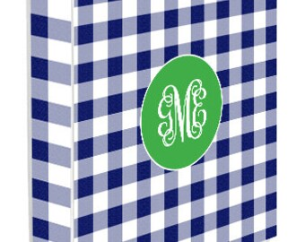 Personalized Binder Cover, Navy Check
