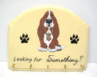 "Made to Order Decopague Print from Original Art by Renee Bane - Basset Hound Sign Accessory/Key Holder  - ""Looking for Something?"""