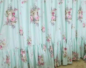 Shabby Green Floral Curtains And Drapes For Bedroom Living Room Curtain  Panels