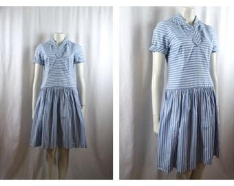 1950s Blue Nautical Stripe Cotton day dress