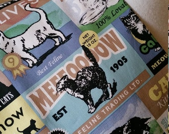 Kitchen handmade cotton multi-coloured cat label print NEW Great for kitchen tea bridal showers house warming