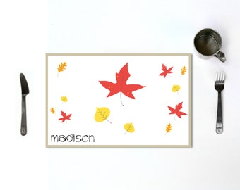 Kids Thanksgiving Placemat Personalized Childrens Fall Leaves Table Setting Place Mat Autumn Holiday Table Decor Dinnerware or Kids Gift