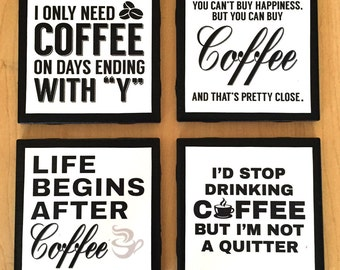 Set of 4 Funny Coffee Coasters
