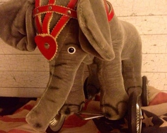 Vintage Pull Toy Ride On Circus Elephant Mohair 1950