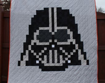 NEW! Quilt Kit! The Dark Side, (Darth Vader) Modern Quilt Pattern and KIT! Fabric Bundle for Twin Size!