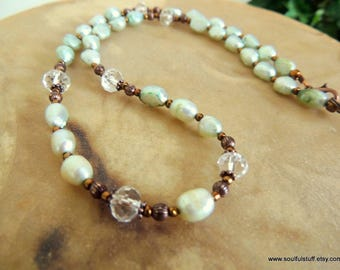 Freshwater Pearl Green and Copper Necklace
