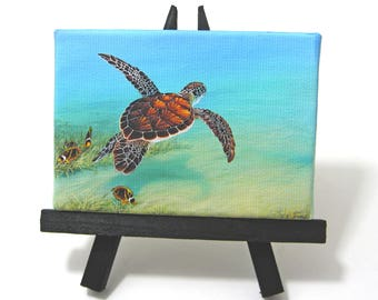 2.5x3.5 Ocean Sea Turtle Seascape Painting on Canvas by J. Mandrick